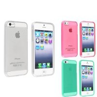 eForCity 3 Packs TPU Rubber Case Combo compatible with Apple® iPhone® 5 / 5S, Clear / Clear Hot Pink / Clear Neon Green