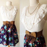 NEW Ivory/ Purple Ruffle Knit Top Contrast Floral Print Woven Skirt BOHO Dress