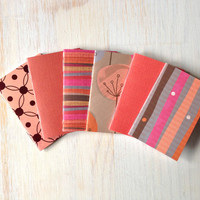 Small Notebooks: Fall Colors, 6 Tiny Journals Set, Autumn, Geometric, Orange, Party Favors, Wedding, Journals, Jotters, Mini Journals, Small
