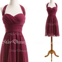 Halter Sweetheart Knee Length Chiffon Wine Red Short Bridesmaid Dresses, Chiffon Cocktail Dresses, Party Dresses, Formal Gown