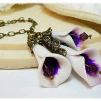 Picasso Calla Lilies Necklace by strandedtreasures on Etsy