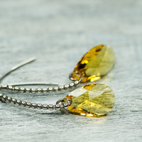 Drop Crystal Earrings, Swarovski Earrrings, Autumn Jewelry, September Trends, Yellow Drop Earrings, Topaz Earrings, Steling Silver Earrings