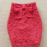 FOLD THE WAIST BOWKNOT EMBROIDERED SKIRTS