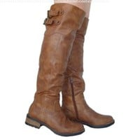 Women's Qupid Cognac Basic Casual Buckle Knee High Boot (Relax01x):Amazon:Shoes