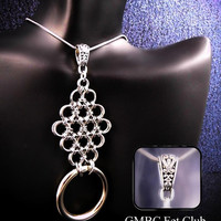 Discreet Day Collar - Steel Japanese Lace and O Ring Pendant