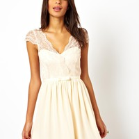 ASOS | ASOS Skater Dress With Scalloped Wrap at ASOS