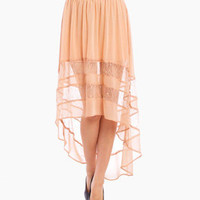 Lacey Stripes Skirt in Nude