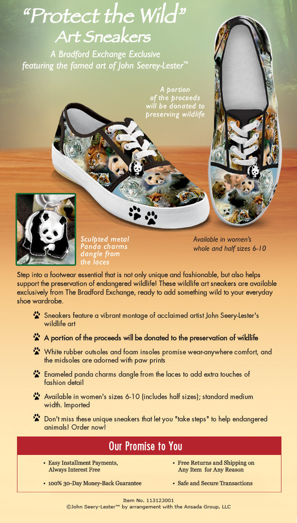 Wildlife Art Womens Shoes: Protect The Wild | The Bradford Exchange Online