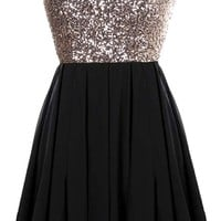 Glitter Fever Dress | Black Gold Sequin Party Dresses | Rickety Rack