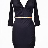 The Long Sleeve Black Dress WIth Belt - 29 N Under