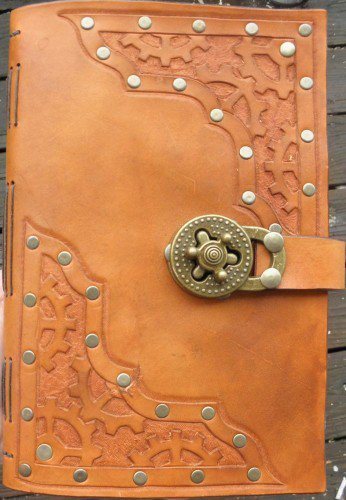 Handmade Tan Leather Steampunk Journal | lindasgarden - Leather Craft on ArtFire