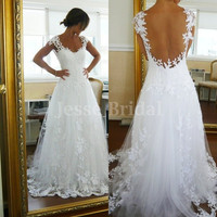 ALine Jewel  White Applique  Lace Wedding Dress by JesseBridal