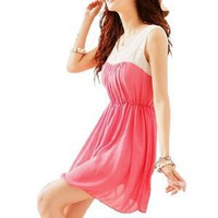 Allegra K Women Two Color Scoop Neck Sleeveless Casusal Chiffon Dress