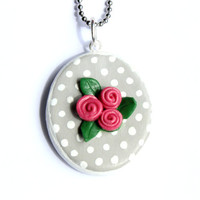 Grey polka dot necklace // Polka dot pendant // Rose necklace