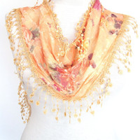 Flowery Somon Cotton Scarf With Fringed by mediterraneanlights