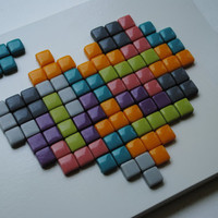 Tetris Mosaic Art Tetris Love Heart Shaped by PaperHeartsCouncil