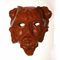Hand built ceramic leaf mask wall hanging Green Man | HarmonArt - Ceramics & Pottery on ArtFire