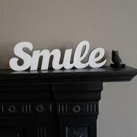 Handpainted Smile Word Art - Smile Sign - Housewarming Present - by the Owl and Otter