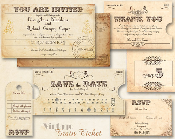 Printable vintage wedding invitations from abandig on etsy