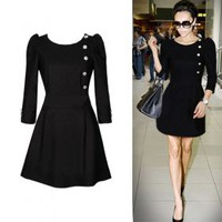 VICTORIA BECKHAM Style / Side Buttons Decorated Three-quarters Sleeves Round Neckline Dress / Women&#x27;s Dresses (FF-1802BG005-0736) - US&amp;#36; 39.99