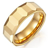 Amazon.com: Mens Tungsten Cubes Ring Gold Engagement Wedding Band 8mm (12): Jewelry