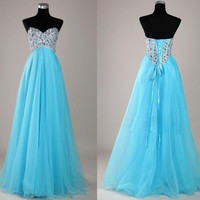 Sweetheart Beaded Tulle Formal Dress, Evening Dress, Party Dress, Long Prom Dress, Evening Dresses Gown