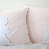 Alice And Rabbit In Wonderland Soft Pink and by RaineStyleHome