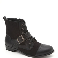 Black Poppy Buckle Front Lace Up Boots at PacSun.com