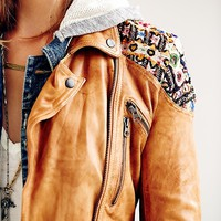 Free People Womens Embellished Classic Biker Jacket