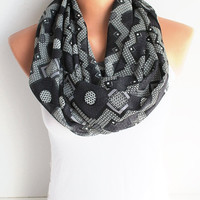 ON SALE Black and Gray Gauze Scarf Infinity Scarf Loop Scarf Circle Scarf Cowl Scarf Soft and Lightweight