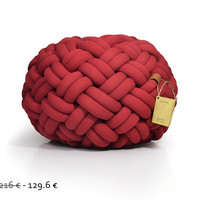 40% off - mini KNOTTY floor cushion 50x50x30 cm (deep red)