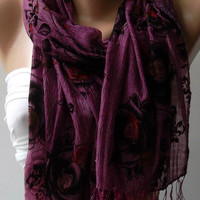 Purple / Elegance Shawl / Scarf with Lace Edge by womann on Etsy