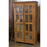 Teak Armoire with Distressed Mirror Doors - Armoires & Entertainment Centers - Living