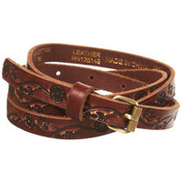 Tan Leather Floral Embossed Skinny Belt - New In - Topshop