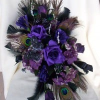 Purple Peacock Bouquet Cascade Custom Wedding Flowers | AmoreBride - Wedding on ArtFire