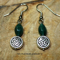 Celtic Knot Earrings - Green Glass Earrings - Dark Green And Silver - Green Earrings - Silver Earrings - Gift For Her - Made In USA
