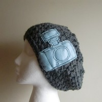 Gray Crocheted Slouchy Beanie Hat with Camera Patch Applique