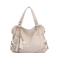 Elegant beige Tassel Handbag & Shoulder Bag