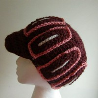 Women Newsboy Cable Knit Cap Hat with Brim in Burgundy Heather with Salmon and Cream Yarn