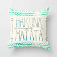Hakuna Matata Throw Pillow by Sara Eshak