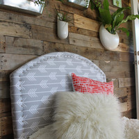 Custom upholstered headboard arrow fabric upholstered bed - twin bed