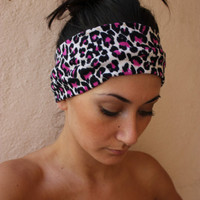 Pink animal print headband by ThreeHeartZ on Etsy