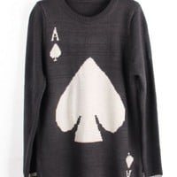 Grey Long Sleeve A Spades Pattern Sweater