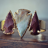 LUX Divine Three Arrowhead Bracelet /// Gold