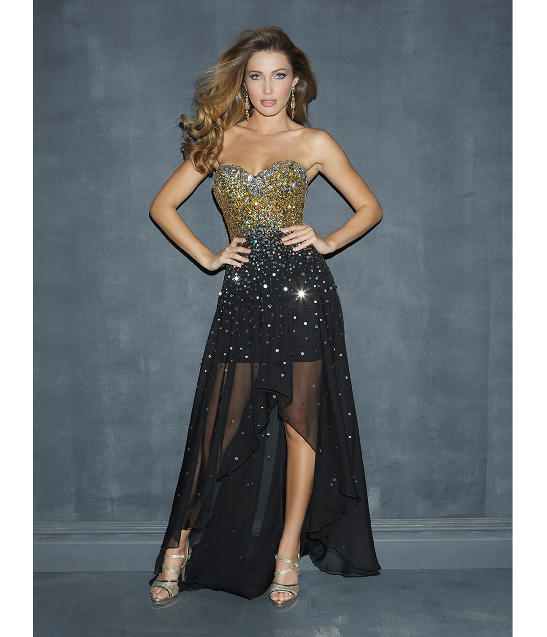 Black & Gold Beaded Chiffon Strapless From Unique Vintage