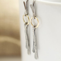 Modern Gold and Sterling Silver Earrings