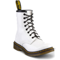Dr Martens 1460 W Boot WHITE PATENT LAMPER - Doc Martens Boots and Shoes