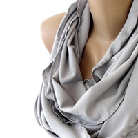 gray jersey scarf, infinity scarf, scarves , fall fashion accessories , gift ideas , for her