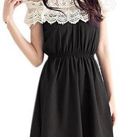 Allegra K Lady Crotcheted Lace Boat Neck Sleeveless Mini Dress White Black XS