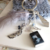 50 Shades Grey Feather Polymmer Clay Miniature Book Silver Plated Key Chain